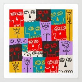 Skulls & Flowers Art Print