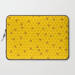 Mind Your Own Beeswax / Bright honeycomb and bee pattern Laptop Sleeve