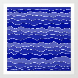 Four Shades of Blue with White Squiggly Lines Art Print