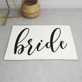 Black and White Bride Typography Script Wedding Design Rug