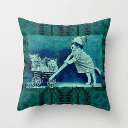 CatDogCurios 11 Throw Pillow