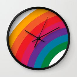 Retro Bright Rainbow - Left Side Wall Clock