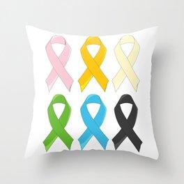 SIx Awareness Ribbons Throw Pillow