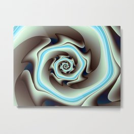 Abstract Geometric Swirl with Blue Metal Print