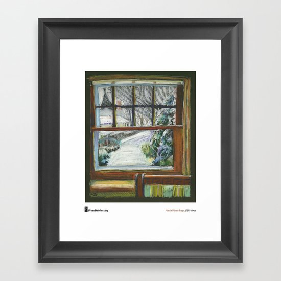 "Marcia Milner-Brage, ""Snow Again Out Front Window"" Framed Art Print"