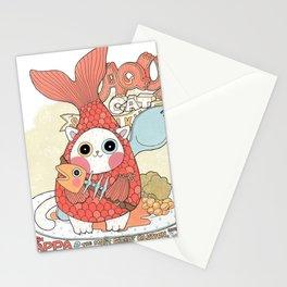 Aqua cat_ Rappa Stationery Cards