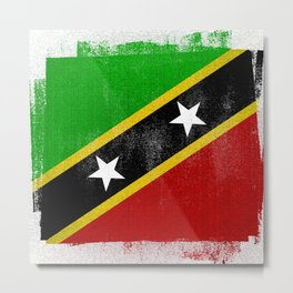 St Kitts and Nevis Distressed Halftone Denim Flag Metal Print