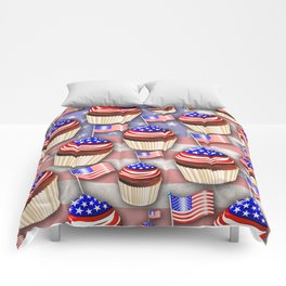 USA Flag Cupcakes Pattern Comforters