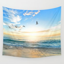 Blue Sky with Birds Wall Tapestry