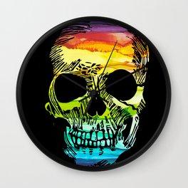 Rainbow Boho Skull I Wall Clock