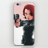 black widow iPhone & iPod Skins featuring Black Widow by nachodraws