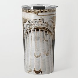 Detail of entablature and column from The Temple of Hadrian, in Rome, Italy. Travel Mug