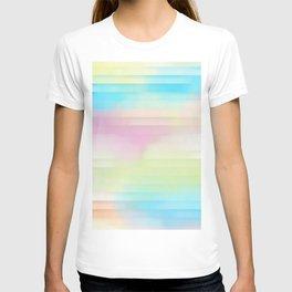 Summer Pastel Glitch Stripe Design T-shirt