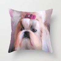 shih tzu Throw Pillows featuring Little Girl Shih Tzu by Jai Johnson