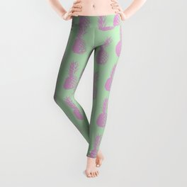 Pineapples - Light Green & Pink #218 Leggings