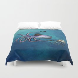 Underwater Love // octopus jellyfish Duvet Cover