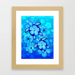 Tropical Hibiscus Flowers And Honu Turtles Framed Art Print