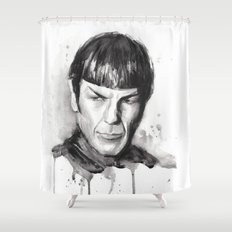Spock Watercolor Portrait Shower Curtain