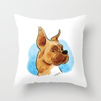 boxer Throw Pillows featuring Boxer by Renee Kurilla