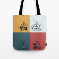 movie posters Tote Bags featuring Four Hitchcock Movie Posters in One (Psycho, The Birds, North by Northwest, Notorious) by Stefanoreves