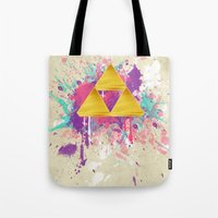 triforce Tote Bags featuring Splash Triforce by Brittany