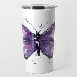 Purple Butterfly Watercolor Abstract Animal Art Travel Mug