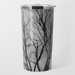 Black and White Crows Black Birds in a Tree Bokah Rustic A275 Travel Mug