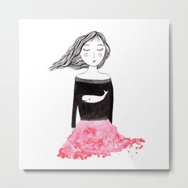 Girl with whale sweater Metal Print