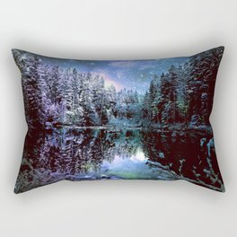 A Cold Winters Night : Violet Teal Green Winter Wonderland Rectangular Pillow