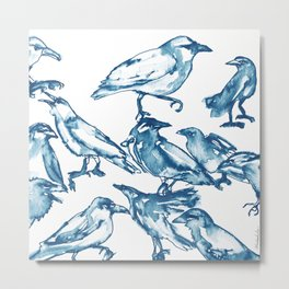 Watercolor Crows Metal Print