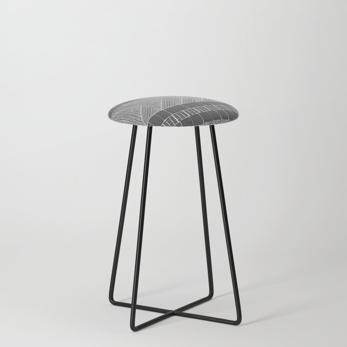 Black and White Line Art Counter Stool