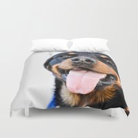 rottweiler Duvet Covers featuring Happy rottweiler by StarsColdNight