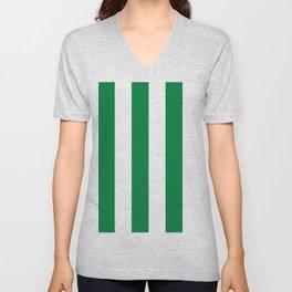 Classic Cabana Stripes in White + Kelly Green Unisex V-Neck
