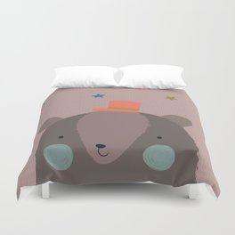 Big Bear and Bluebird Pink Duvet Cover