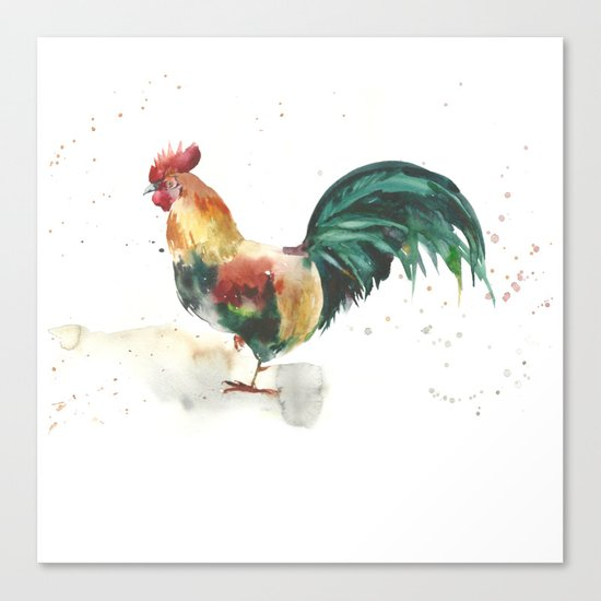 Symbol of the year, watercolor rooster, cock, cockerel Canvas Print