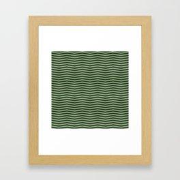 Dark Forest Green Chevron Zigzag Stripes Framed Art Print