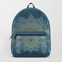 GOLDEN MANDALA ON BLUE Backpack