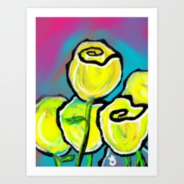 Colorful Yellow Rose Flowers with Purple Blue and Green Art Print