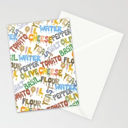 Margarita Pizza Recipe Food Lettering Stationery Cards