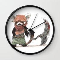 bouletcorp Wall Clocks featuring Panda Roux Barbare by Bouletcorp
