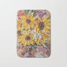Sun Flowers, Sun Flower, Yellow Flowers, Bouquet of Flowers Bath Mat