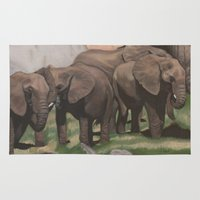 elephants Area & Throw Rugs featuring Elephants by Hilferty Art