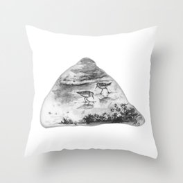 Sandpipers on the beach by annmariescreations Throw Pillow