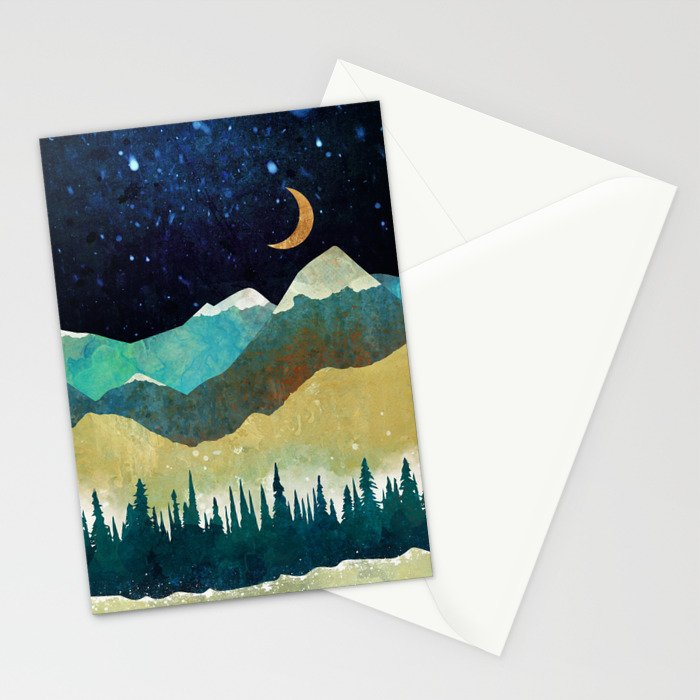 Snowy Night Stationery Cards