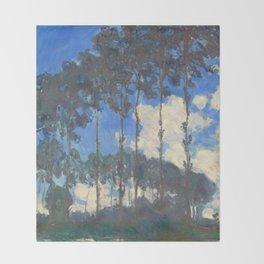 Monet Poplars on the River Epte by Claude Monet Throw Blanket