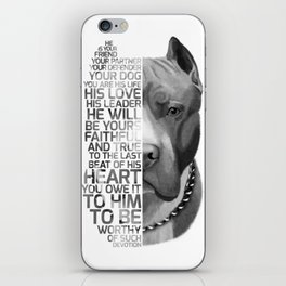 Pit Bull Print, Pit Bull Quote, Pit Bull Gift, Text Dog Portrait, Dog Art, Dog Quotes Print, Text Do iPhone Skin