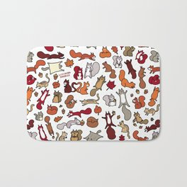 Squirrels in Fall Doodle Bath Mat