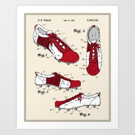 Football (Soccer) Cleat Patent Art Print