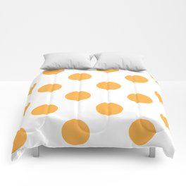 Large Polka Dots - Pastel Orange on White Comforters