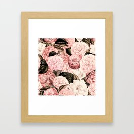 Vintage & Shabby Chic Pink Floral camellia flowers watercolor pattern Framed Art Print